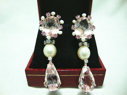 18K WHITE GOLD MORGANITE PEARL EARRING 8/64P