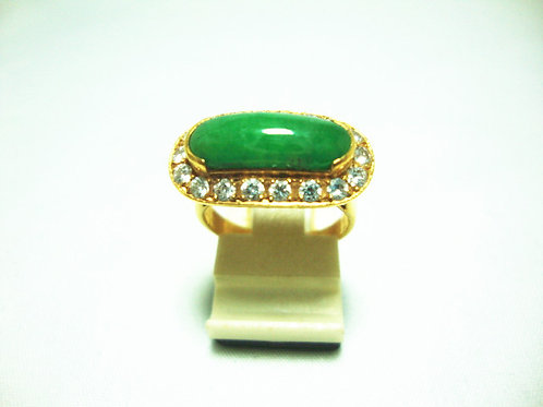 20K GOLD DIA JADE RING 60P