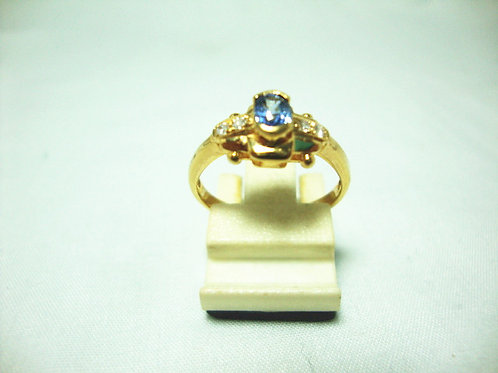 20K GOLD DIA SAPPHIRE RING 4/8P