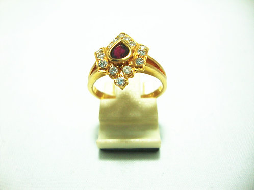 18K GOLD DIA RUBY RING 14/42P