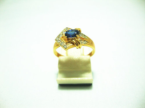 18K GOLD DIA SAPPHIRE RING 11P