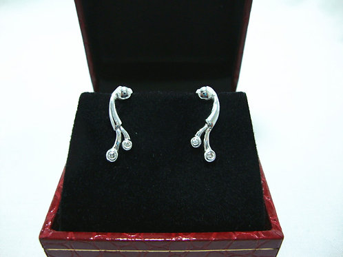 18K WHITE GOLD DIA EARRING 2/2P 2/14P