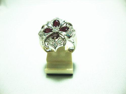18K WHITE GOLD DIA RUBY RING 13/69P