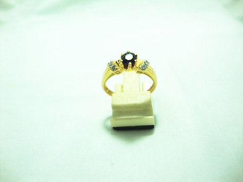 14K GOLD DIA SAPPHIRE RING 6/12P