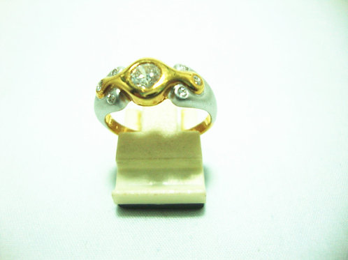 18K GOLD DIA RING 1/40P 16/12P