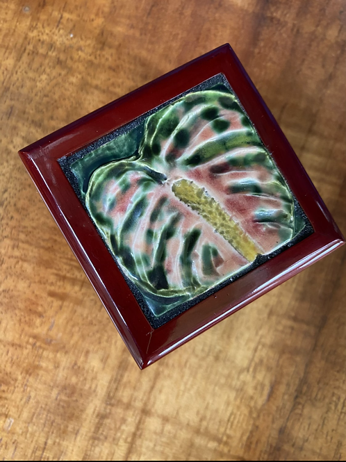 Pink and Green Anthurium Handmade Ceramic Tile on a Small, Rosewood Jewelry Box