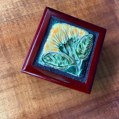 Lehua Mamo Ceramic Tile on a Small, Rosewood Jewelry Box