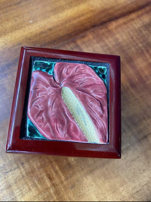 Pink Anthurium Ceramic Tile on a Small, Rosewood Bo