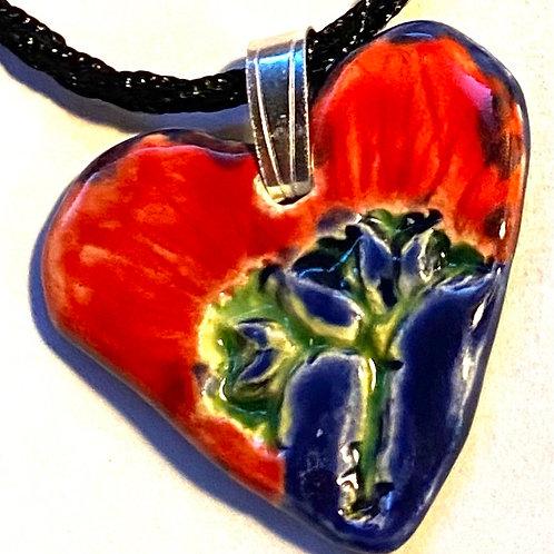 Lehua Heart-Shaped Ceramic Pendant
