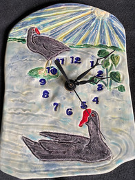'Alae 'Ula 'Elua -- Two Common Moorhens Ceramic Clock