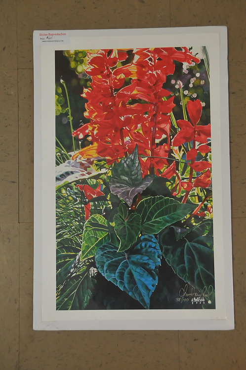 Giclee Canvas print of Red Flowers