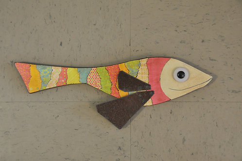 Mixed Media Wooden Fish with Rusted Tin Fins