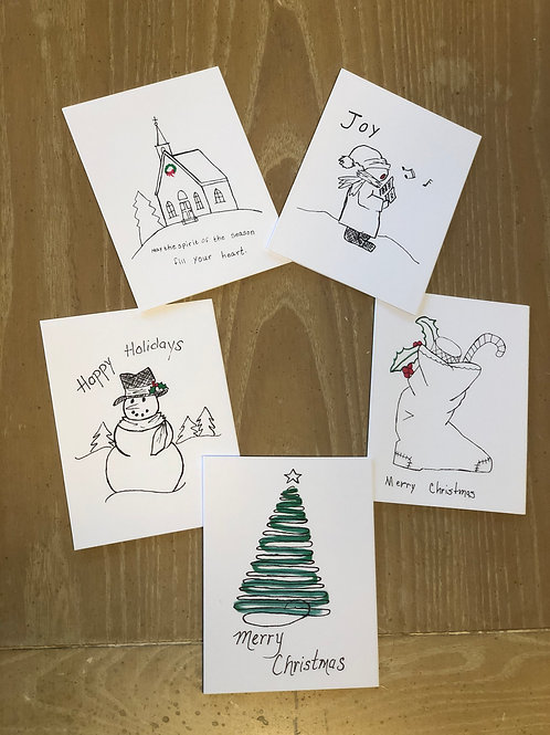 Pack of Christmas Cards (10/pack and 5 different designs)