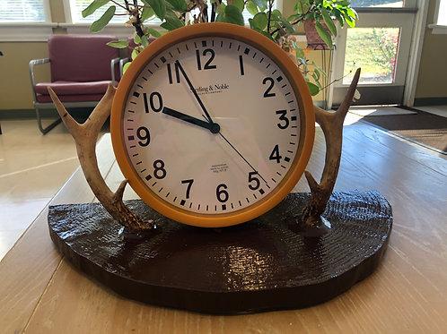 Wooden Antler Clock Holder