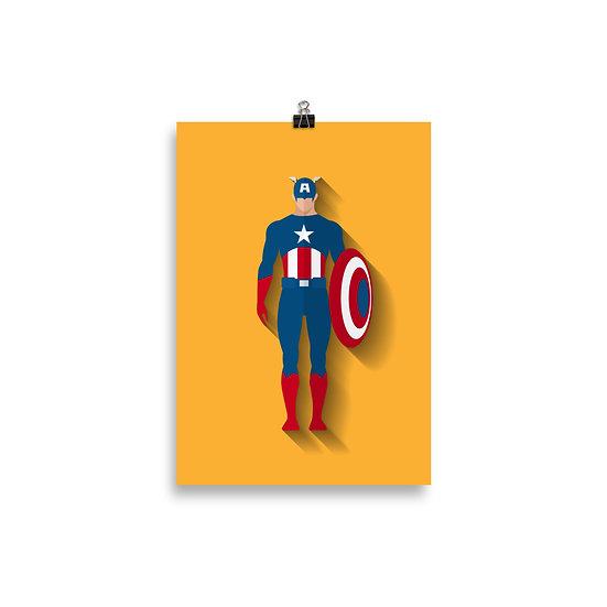 Poster Capitão America  Minimum - Coleção Heróis