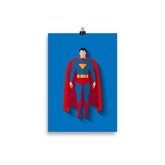 Poster Super Man Minimum - Coleção Heróis