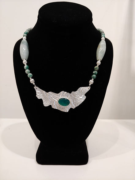AKD Green Onyx Reticulated Silver necklace.jpeg