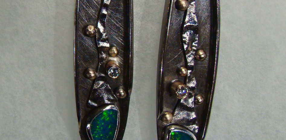 Silver, Eold and Emerald Earrings