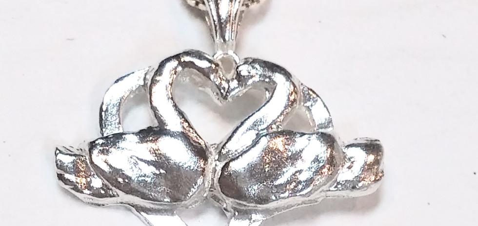 """Kissing Swans"" pendant"