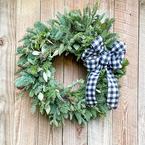 Mixed Winter Greens Wreath w/ Bow