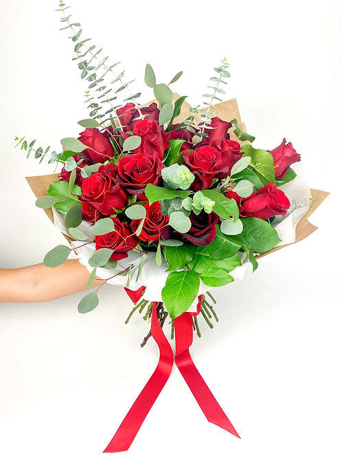 Traditional Red Rose Wrapped Bouquet