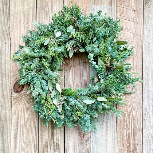 Mixed Winter Greens Wreath