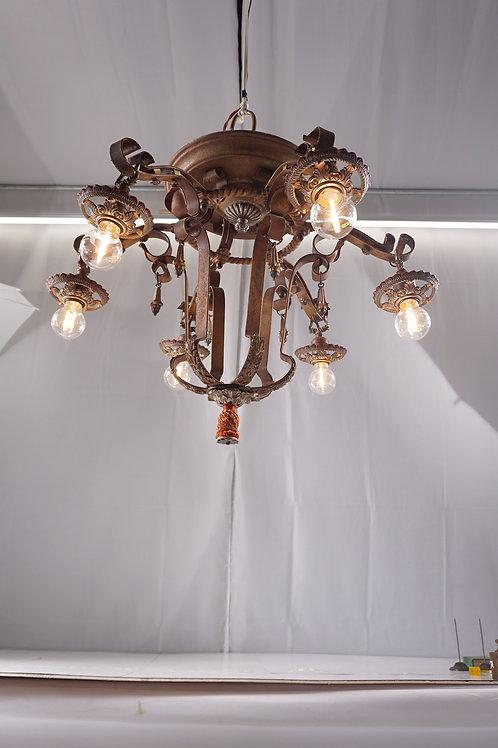 Art Deco 6 Lights Chandelier Ca 1920s