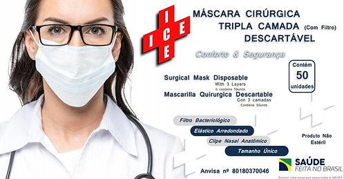 Máscara Cirúrgica Descartável ICE c/ 50 unidades