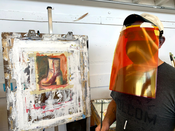 University of Idaho painting student