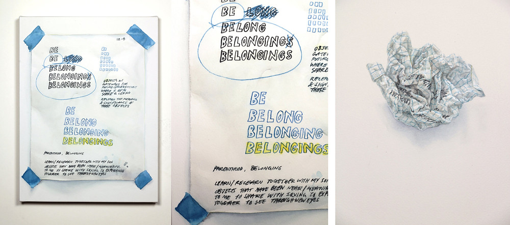"Michael Hall. left & middle: Notes on Belonging, 2020, watercolor on paper stretched over panel, 12""x9"". right: Crumpled (Notes on Painting), 2020, watercolor on paper stretched over panel, 12""x9""."