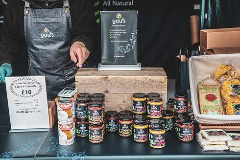 Yaus sauces vegan market stall