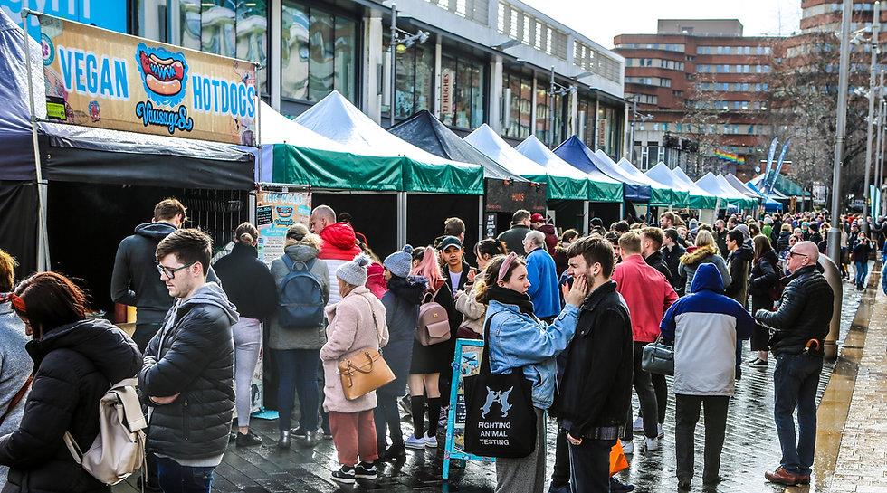 Busy outdoor vegan market