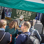 Queue for vegan market stall