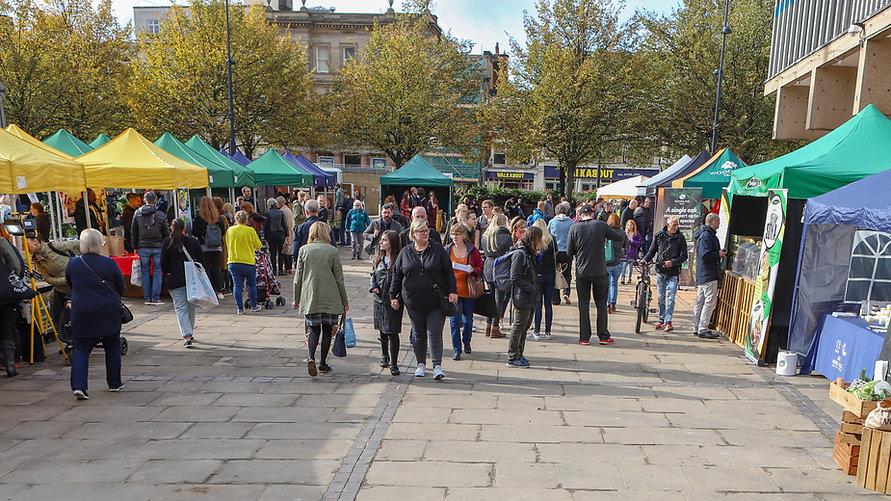 Market square people walking around