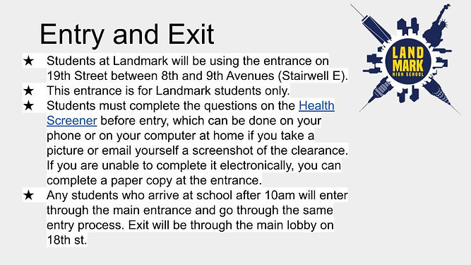 Entry and Exit  Instructions