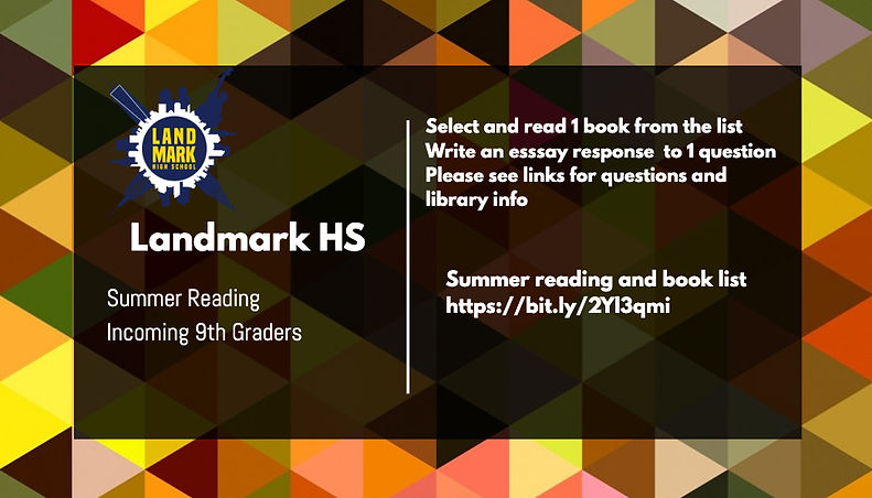 Summer reading incoming 9th graders