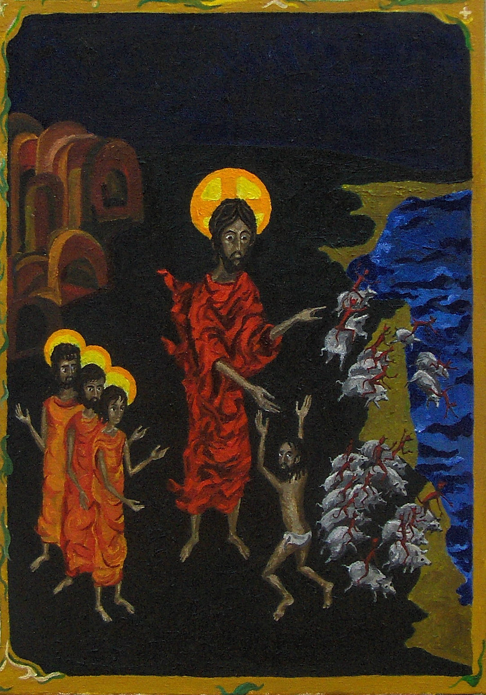 A painting of Jesus (in the center) wearing a red robe, healing the demoniac who is flanked by a horde of pigs jumping in the water. The disciples look on.