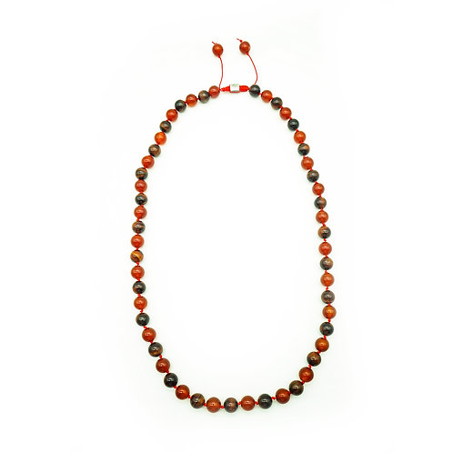 Red Tigers Eye and Agate Half Mala Necklace