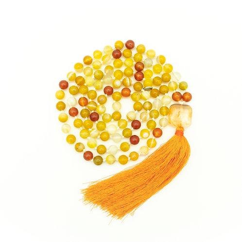 Yellow Agate & Carnelian 108 Bead Mala