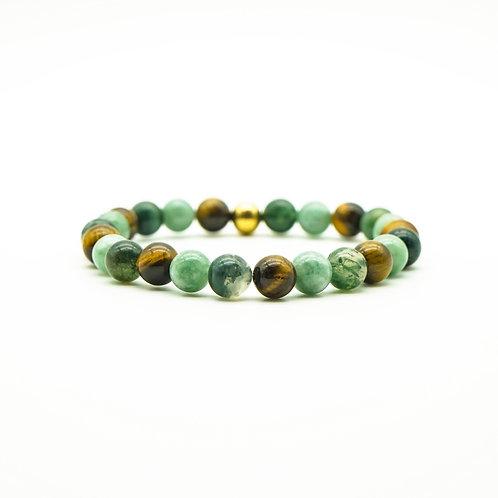 Tiger Eye, Moss Agate & Jade Bracelet