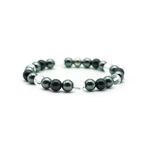 Black Onyx, Hematite & Quartz Bracelet