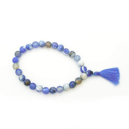 Cornflower Blue Agate Wrist Mala