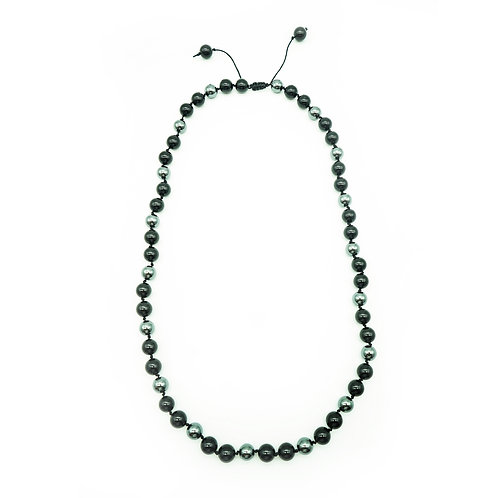 Hematite & Black Onyx Half-Mala Necklace