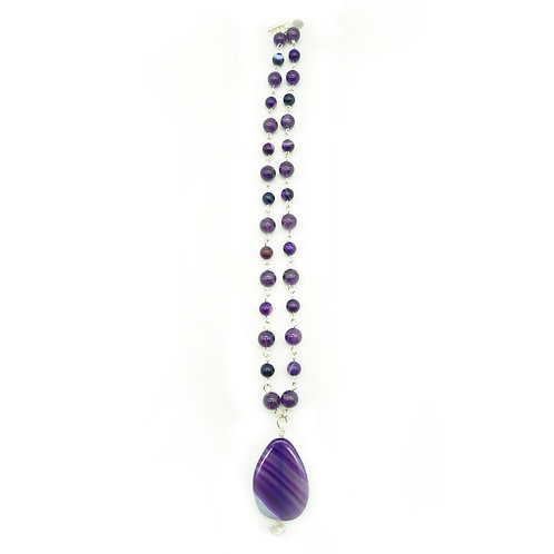 Amethyst & Agate Pendant Necklace