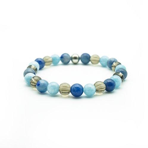 Smoky Quartz, Blue Aventurine & Jade Bracelet