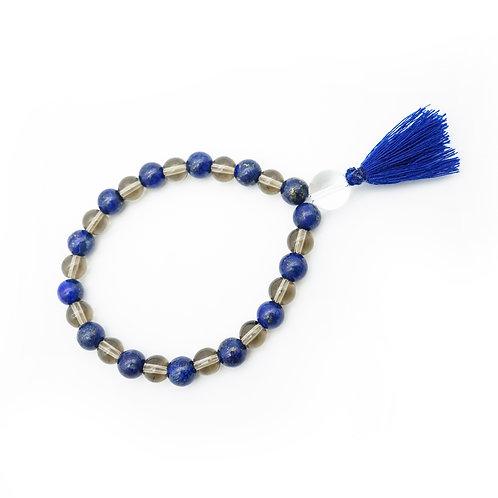 Lapis Lazuli & Smoky Quartz Wrist Mala