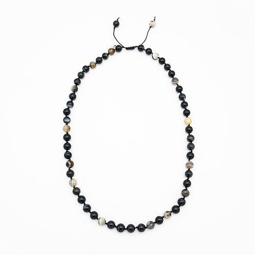 Black Agate Half-Mala Necklace