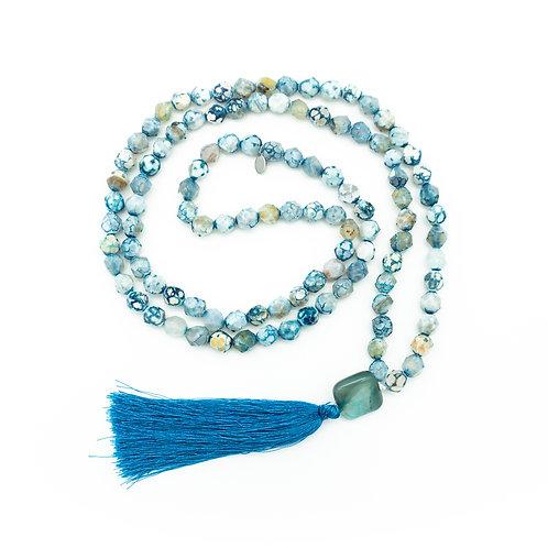Blue-White Agate 108 Bead Mala