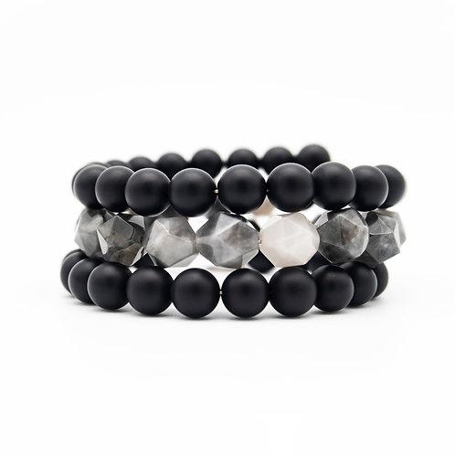 Agate & Onyx Wrap Stack Bracelet