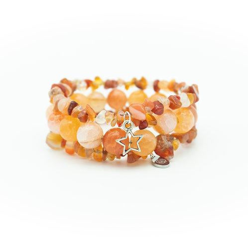 Carnelian & Agate Wrap Stack Bracelet